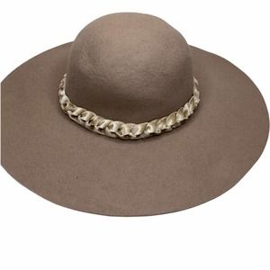 RACHEL PARCELL Tan Wool Hat with Braided Band